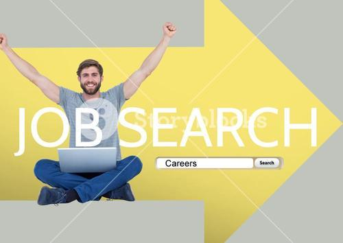 Browser research against picture of happy young worker