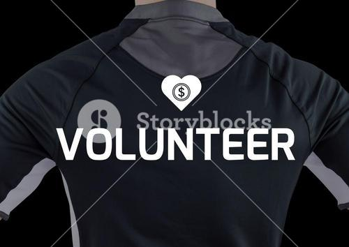 digital composite of humans back with volunteer sign