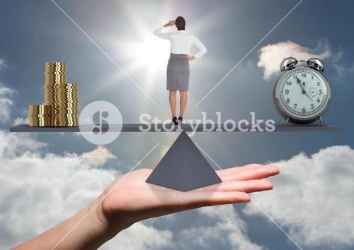digital composite of woman standing on scale