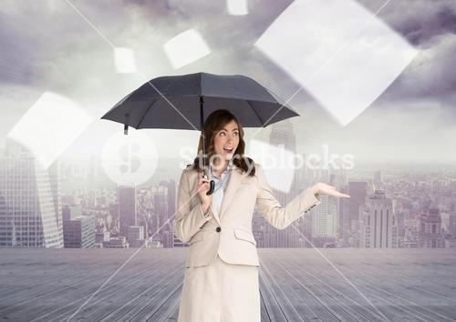 Digital composite of woman with umbrella