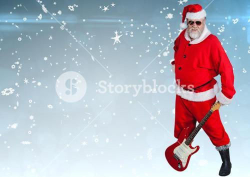 digital composite of santa playing music
