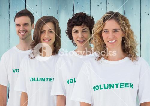 Group of volunteer in row