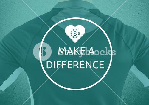 """View back of sport man """"make a difference"""""""