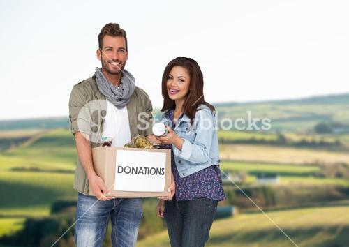 Couple with donation box