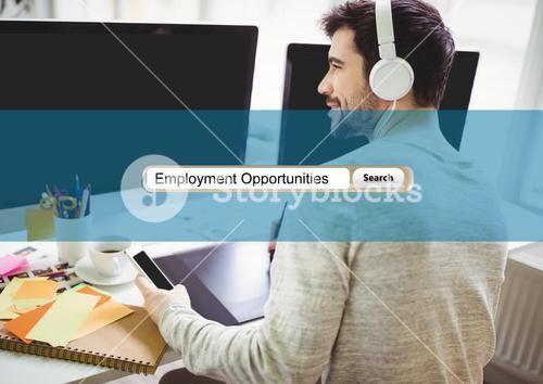 Worker in front of computer with headphone