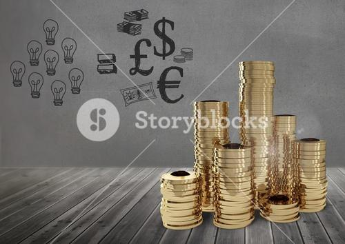 Coins in front of black background