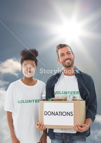 Digital composite of volunteers carrying donation boxes