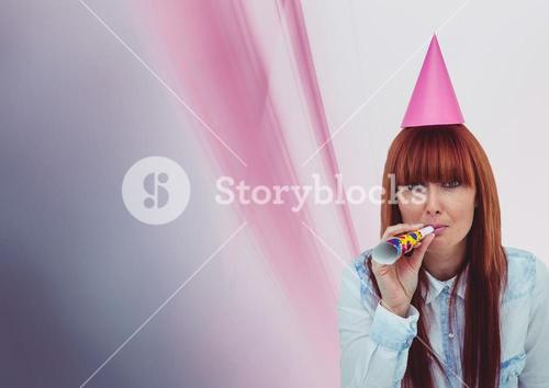 digital composite of woman with party hat