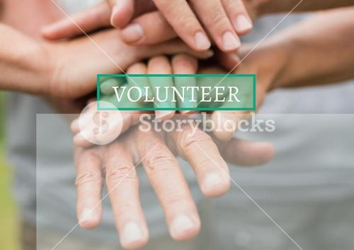 digital composite of volunteers holding hands