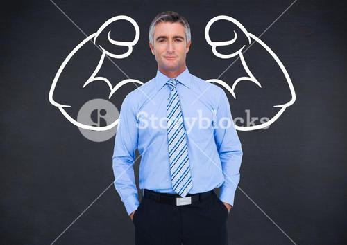 Digital composite of business man with strong arms