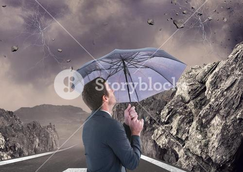 Digital composite of man with umbrella