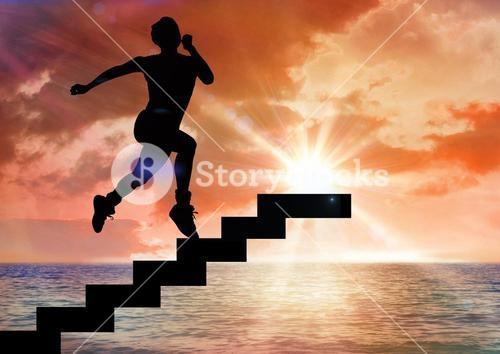 Digital composite of business man running up stairs