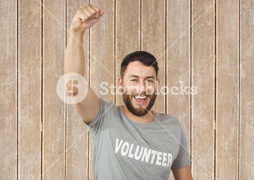 digital composite of volunteer celebrating