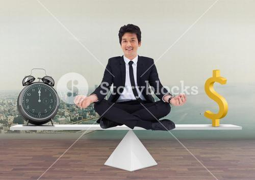 digital composite of man sitting at scale