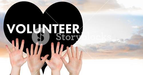 digital composite of volunteers hands up