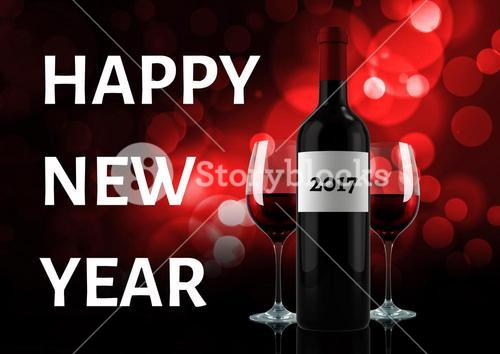 digital composite of wine bottle with 2017 message