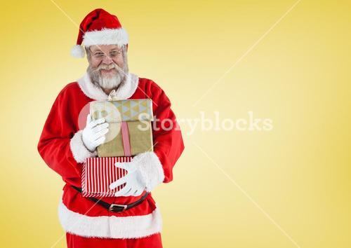 digital composite of santa holding presents