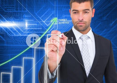 Businessman writing on transparency board