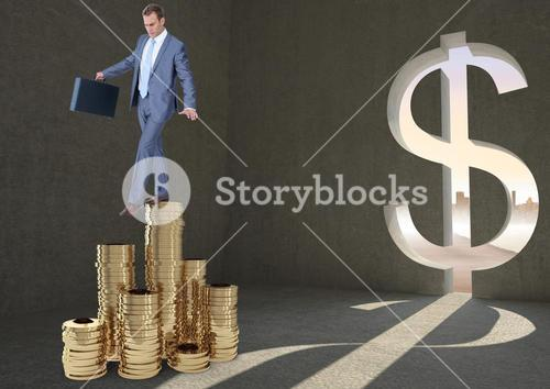 Businessman stepping carefully on coins