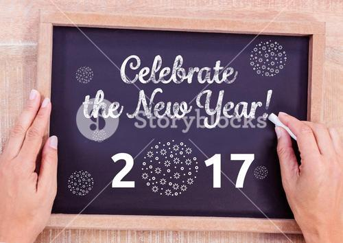 "Black board ""Celebrate the new year 2017"""