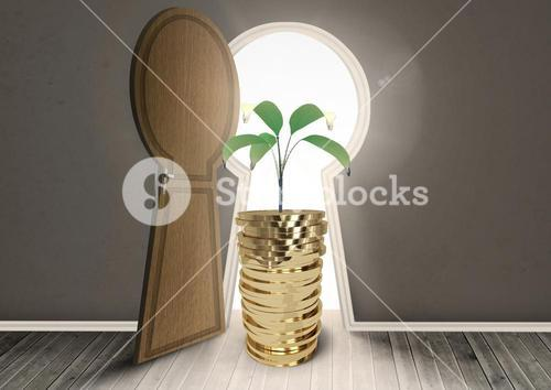 Coins between keyhole