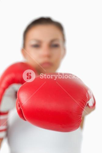 Left fist presented by female boxer