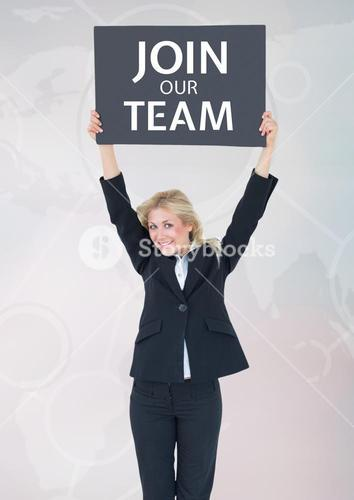 """Businesswoman with sign """"join our team"""""""