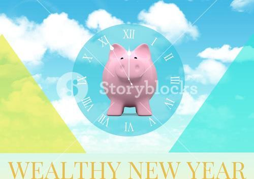 Piggy bank and wealthy new year