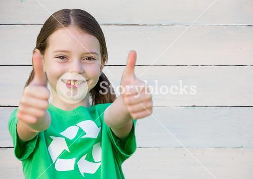digital composite of child thumps up