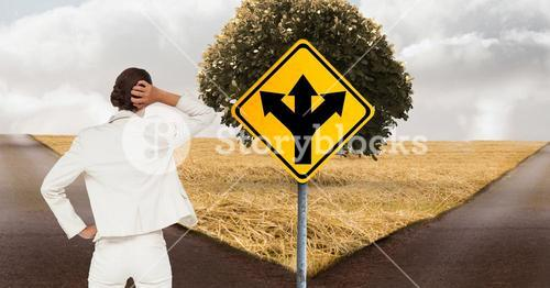 digital composite of woman choosing direction