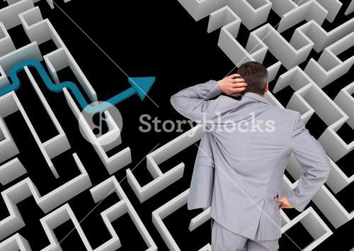 digital composite of business man standing for maze