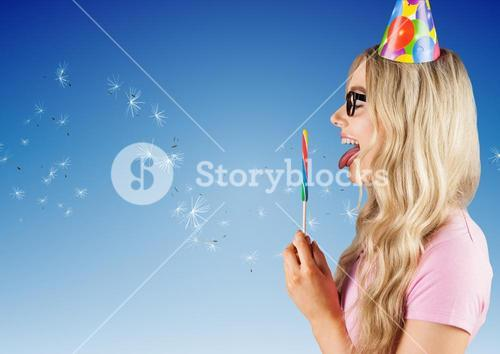 digital composite of woman having a lolly