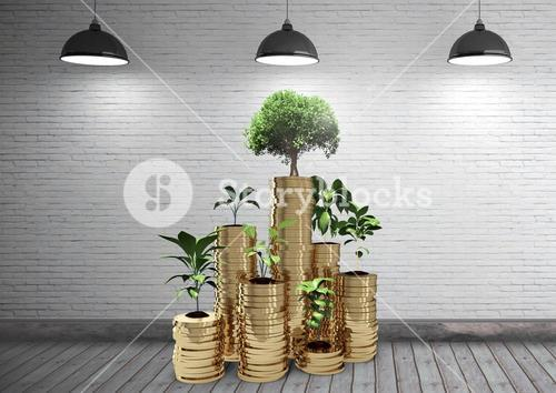 Digital composite of coins and trees
