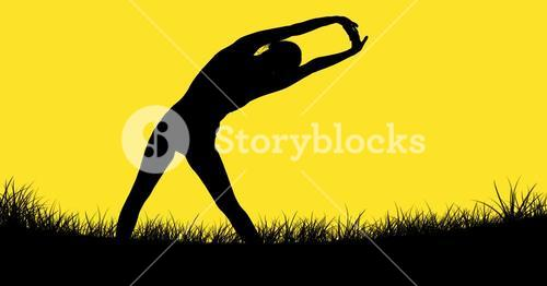digital composite of woman stretching