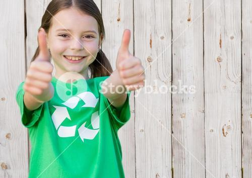 digital composite of girl with thumbs up