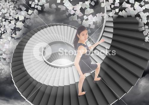 Digital composite of woman walking up stairs