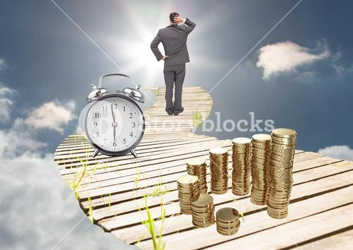 digital composite of business man standing on bridge