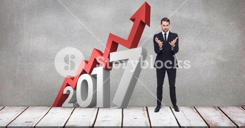 Digital composite of business man being worried for 2017