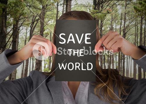 Digital composite of woman holding sign