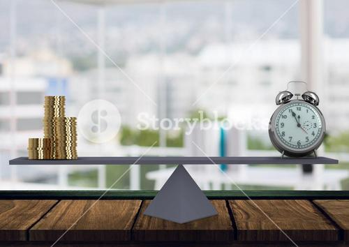 Digital composite of scale with money and alarm clock on both side