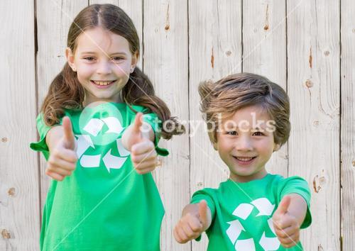 digital composite of children thumps up