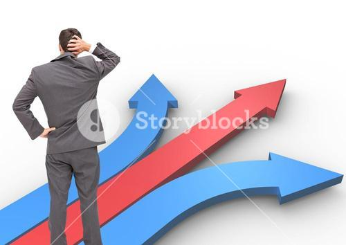 digital composite of business man looking at different directions