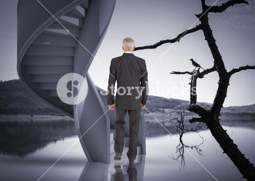 digital composite of man standing in front of stairs