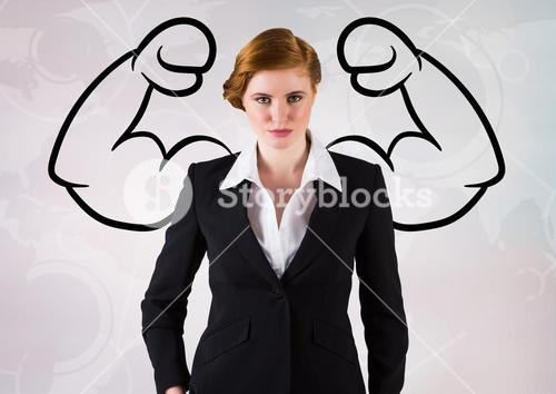Digital composite of woman with strong arms