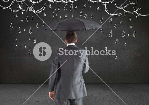 digital composite of man holding umbrella