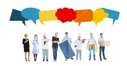 Digital composite of people with speech bubbles