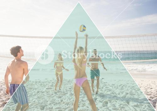 digital composite of people playing volleyball