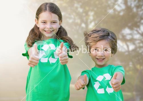digital composite of children pointing thumbs up
