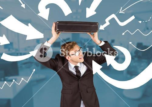 digital composite of business man carrying is suitcase over his head