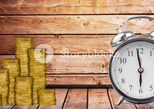 digital composite of alarm clock  and coins